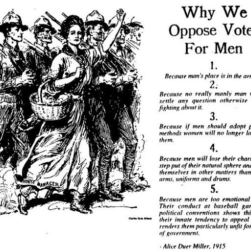 Why We Oppose Votes for Men - Suffragette sarcastic cartoon