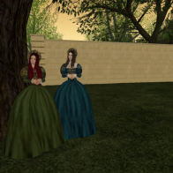 Two renaissance ladies walking in the garden