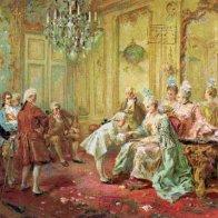 Mozart introduced to Mme. de Pompadour at Versailles.